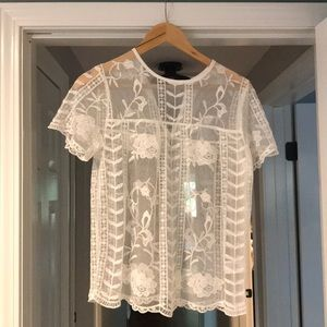 NWT Merona Embroidered Lace Top